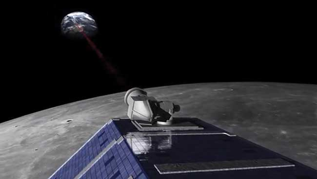 An artist's concept of NASA's Lunar Atmosphere and Dust Environment Explorer (LADEE), showing the Lunar Laser Communications Demonstration (LLCD).