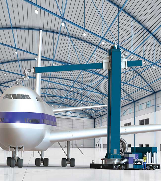 A rendering of LR Systems' largest laser coating removal (LCR) system for commercial airliners.