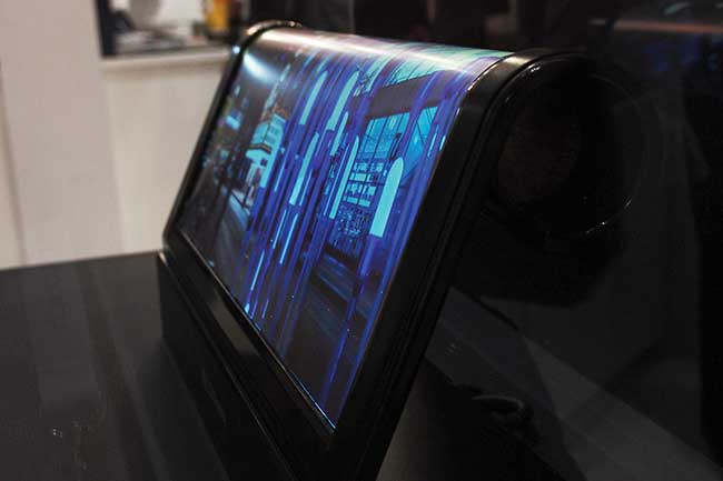 An 18-inch rolled OLED display made on a plastic substrate by LG Display.