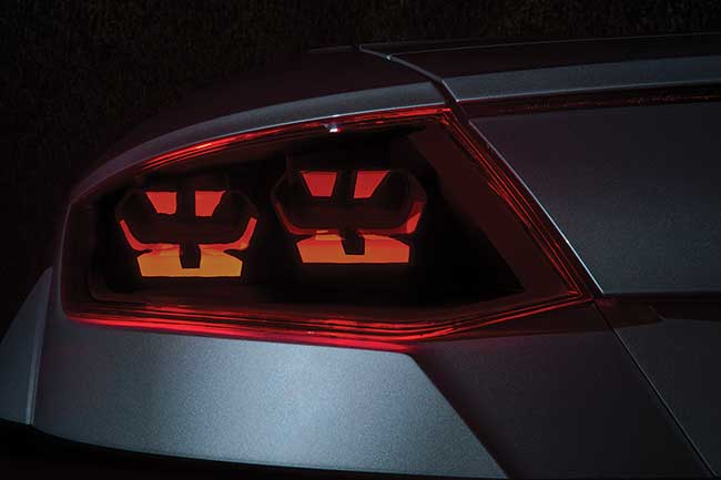 A rear light module from a single flexible OLED produced as part of the R2D2 project in cooperation with Audi, Osram and Hella.