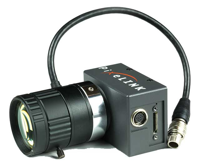 A Varioptic liquid lens on the PixeLINK PL-D 725.