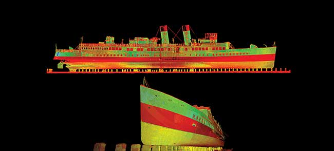 3D laser-generated image of the TS Queen Mary.