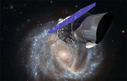 A rendering of WFIRST with an image of the spiral galaxy NGC 2441.