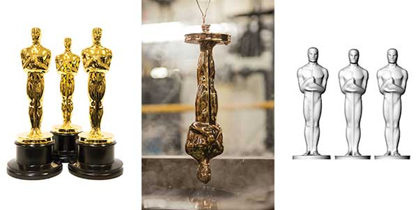 Finished gold-plated Oscars (left), gold plating the Oscar (center) and the scans of the classic, modern and new Oscar (right).