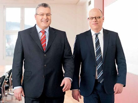 Chairman of the board of Jenoptik AG Michael Mertin (left) and Chief Financial Officer Hans-Dieter Schumacher.