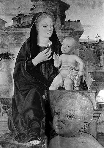 Short-wave infrared reflectograph from a late 15th century Italian painting
