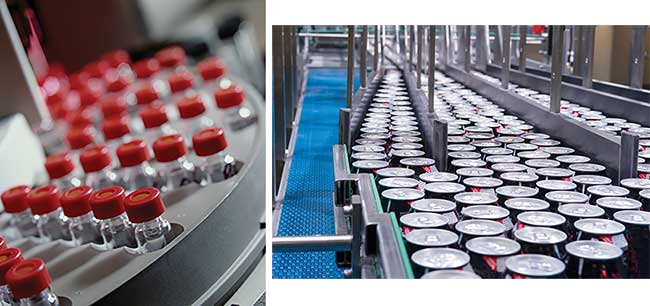 Area scan cameras are used to inspect discrete components, such as pharmaceutical bottles or soda cans.