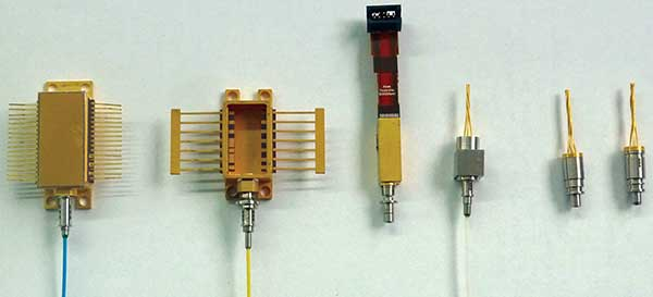 A small selection of optoelectronic devices to be produced on the same alignment and laser welding station.