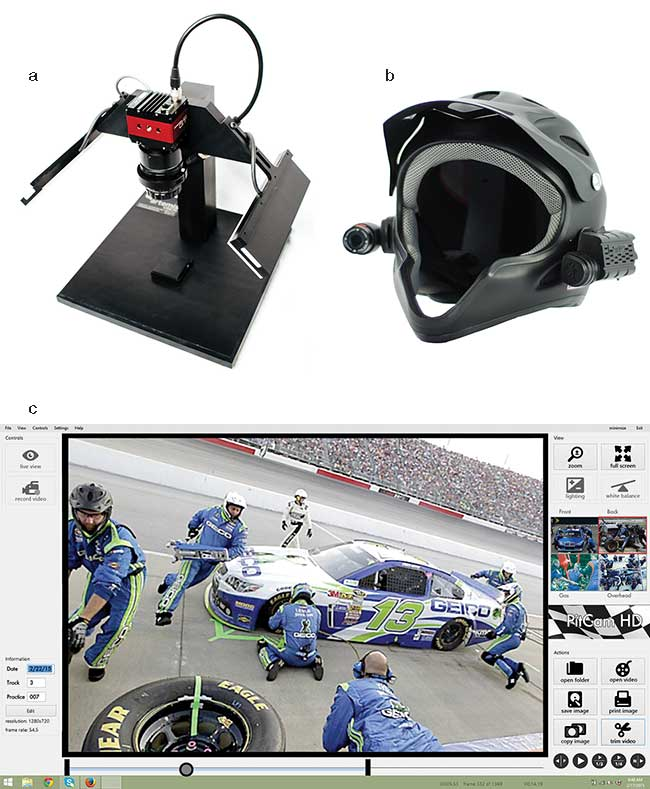 Vision innovations based on lower-cost components make it possible to tackle an inspection station (a), a pit crew helmet with mounted cameras (b, c), or other lower-volume applications. C