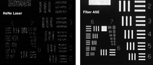 A resolution chart was imaged under illumination from a standard HeNe laser and the fiber ASE source.