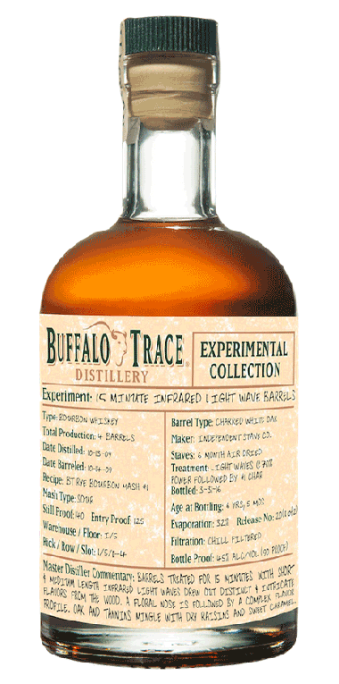 A bottle from Buffalo Trace Distillery's Experimental Collection of bourbon, which underwent IR light treatment during the aging process.