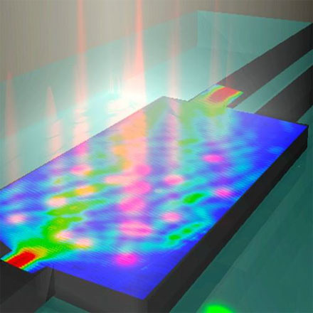 Artistic rendering of a silicon-on-insulator 1×2 multimode interference splitter with a projected pattern of perturbations induced by femtosecond laser.