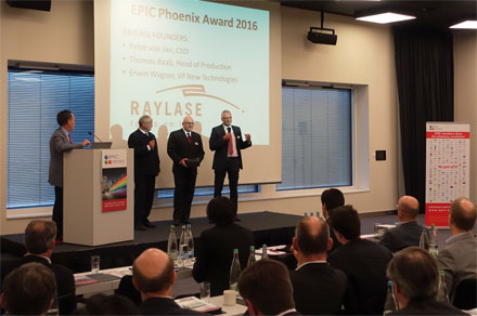 Raylase CEO Peter von Jan, Head of Production Thomas Baab and VP New Technologies Erwin Wagner (left), receive the EPIC Phoenix Award 2016 during EPIC's annual general meeting in Zurich, Switzerland.