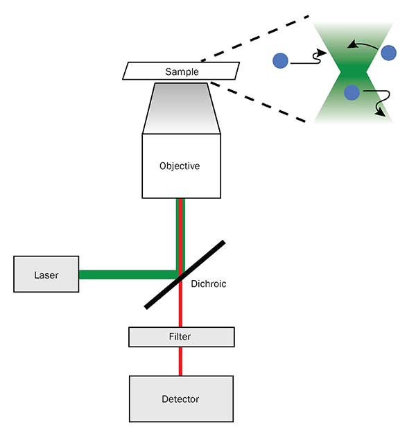 A diagram of the beam path of a conventional fluorescence microscope, along with its illumination pattern (top right).