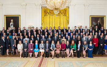 President Barack Obama joins PECASE recipients for a group photo in the White House.