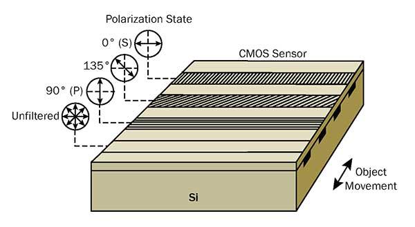 Schematic of Teledyne Dalsa's Piranha polarization camera sensor architecture.