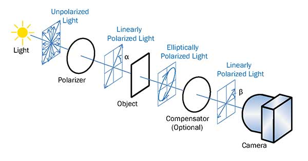 Transmission configuration: A polarizer converts the light source into linearly polarized light.