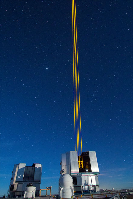 Due to Rayleigh scattering, the SodiumStar laser beams are visible up to a height of a few tens of kilometers.