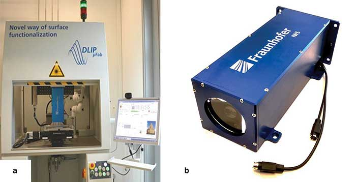A direct laser interference patterning system (DLIP-µFAB) (a) and a DLIP optical head developed at Fraunhofer IWS and Technische Universität Dresden (b).