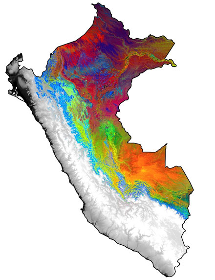 Colored portions of this map of Peru indicate differences in tropical forest canopy chemicals that control tree growth.