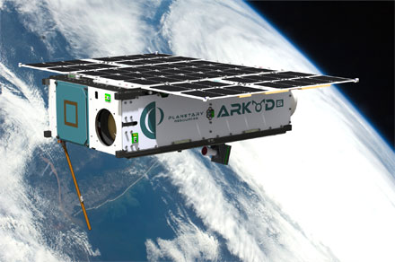 A rendering of the Arkyd 6 spacecraft in orbit.