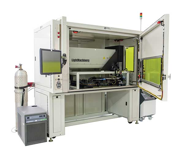 A typical integrated wire-stripping and cutting machine. Impact-2000 Series TEA CO2 laser for stripping; Nd:YAG laser for cutting wire.