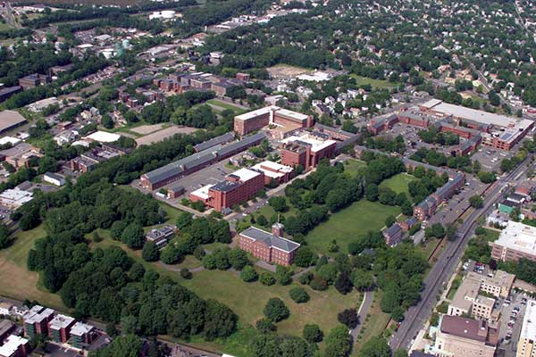 An aerial view of Springfield Technical Community College.