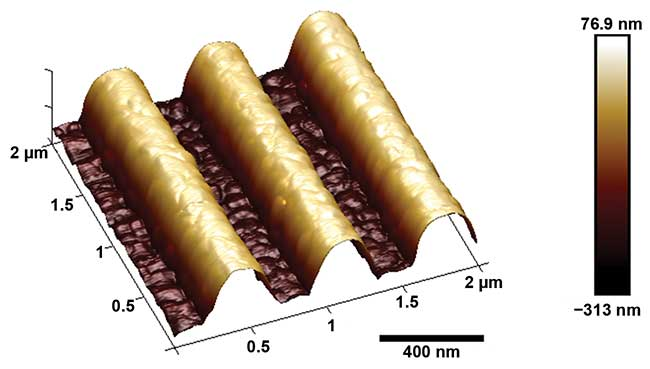 An atomic force microscope (AFM) photo of a holographic photoresist grating (1550 lines/mm) from II-VI Photop.