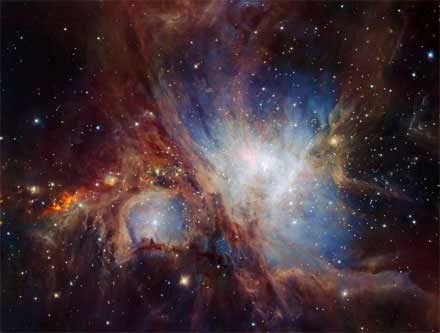 An image of the Orion Nebula star-formation region obtained from multiple exposures using the HAWK-I IR camera on ESO's Very Large Telescope in Chile.
