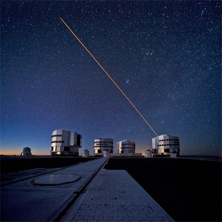 The ESO Very Large Telescope (VLT) during observations.