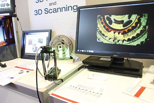 A MEMS digital micromirror device, camera and other peripherals enables 3D scanning through the use of structured light.