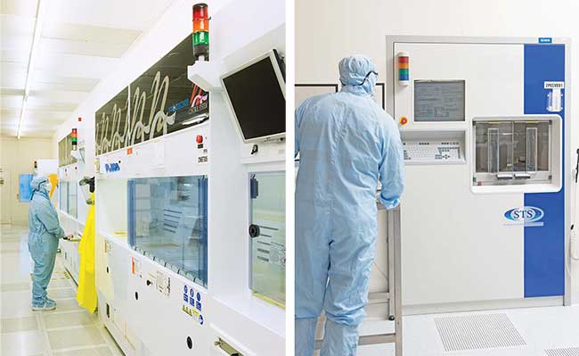 A high-volume production facility in Livingston, Scotland, is used to produce silica-on-silicon integrated optics and silicon MEMS wafers (above and right).