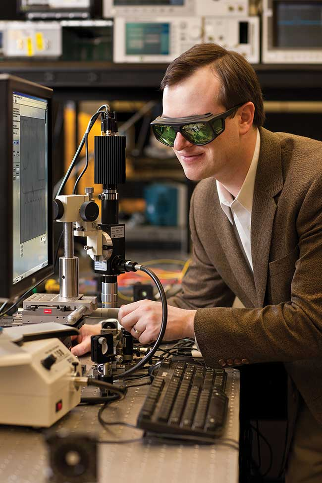Stefan Preble, director of Rochester Institute of Technology's Integrated Photonics Group, at work in his lab.