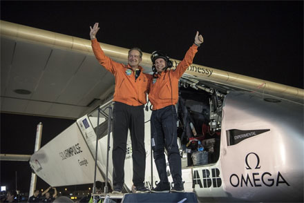 André Borschberg and Bertrand Piccard after the completion of the first Round-The-World Solar flight.