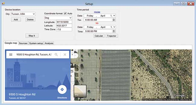 Google Map positioning in the solar utility.