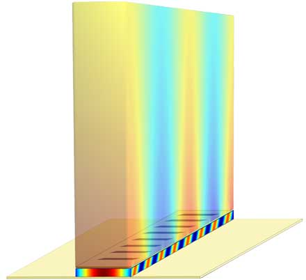 In this illustration of a terahertz plasmonic laser, the laser cavity is enclosed between two metal films (with periodic slits on the top film).