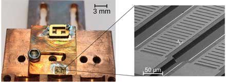 A semiconductor laser chip measuring approximately 3mm x 1.5mm contains 10 lasers.