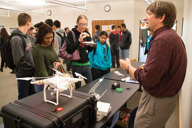 A Manufacturing Day presentation last year at Quinsigamond Community College in Massachusetts allowed Jacob Longacre, an assistant engineering professor at the school and leader of its photonics program, a chance to talk with students about the integration of optical, electronic and aerodynamic technologies exemplified by drones.