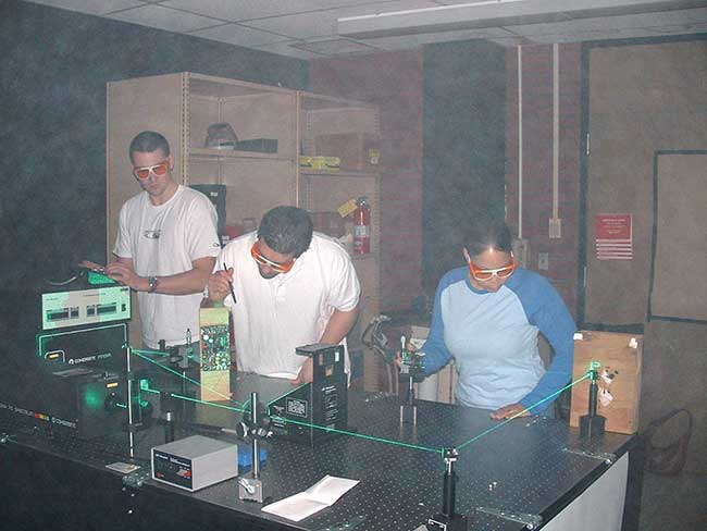 Students at work in the Laser Electro-Optics Technology Program at Springfield Technical Community College.