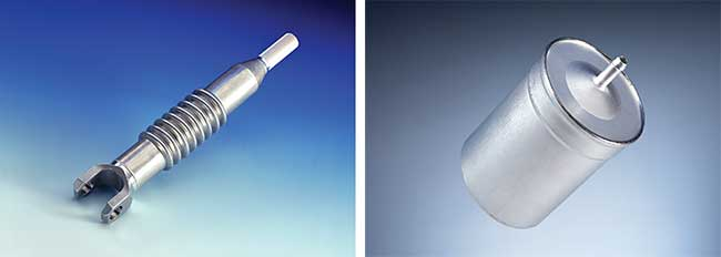 While traditionally used for the body-in-white, laser welding is increasingly being used for internal aluminum components, such as steering columns (left) and fuel filters (right).