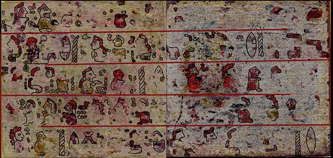 An image created using hyperspectral imaging, which shows the hidden pictographic scenes on pages 10 and 11 of the back of Codex Selden.