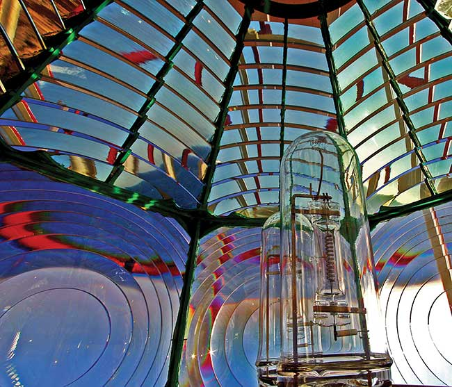 A Fresnel lens, named for its creator, Augustin-Jean Fresnel.