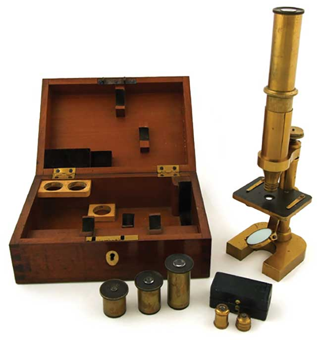 A historical Zeiss compound microscope.