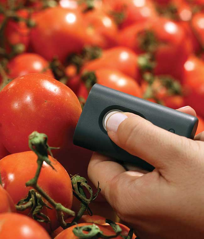 The SCiO miniature IR optical sensor by Consumer Physics allows the average consumer to instantly analyze things like how many calories and proteins are in a certain food, what a drink's alcohol content is, whether a plant is healthy, or what exactly is in a medication.