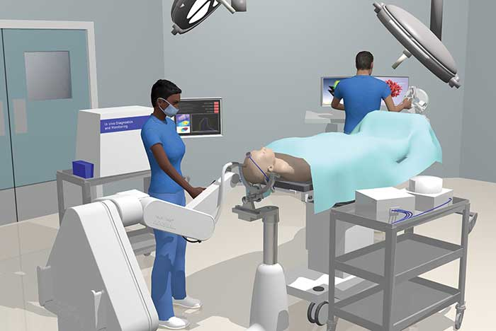 This illustration shows how a surgical procedure will look using the wasp-inspired robotic needle.