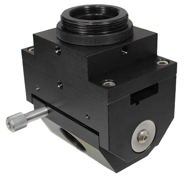 A different type of interchangeable objective assembly provides superior access and stability for applications such as those incorporating patch clamp measurements.
