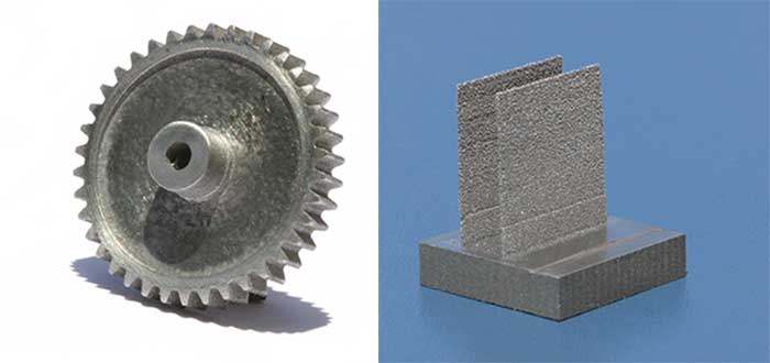 Samples of tungsten parts on tungsten substrates with various shapes and density. The gear has a 1/2-in. diameter (left), while the thin wall (right) has a thickness of 100 µm.
