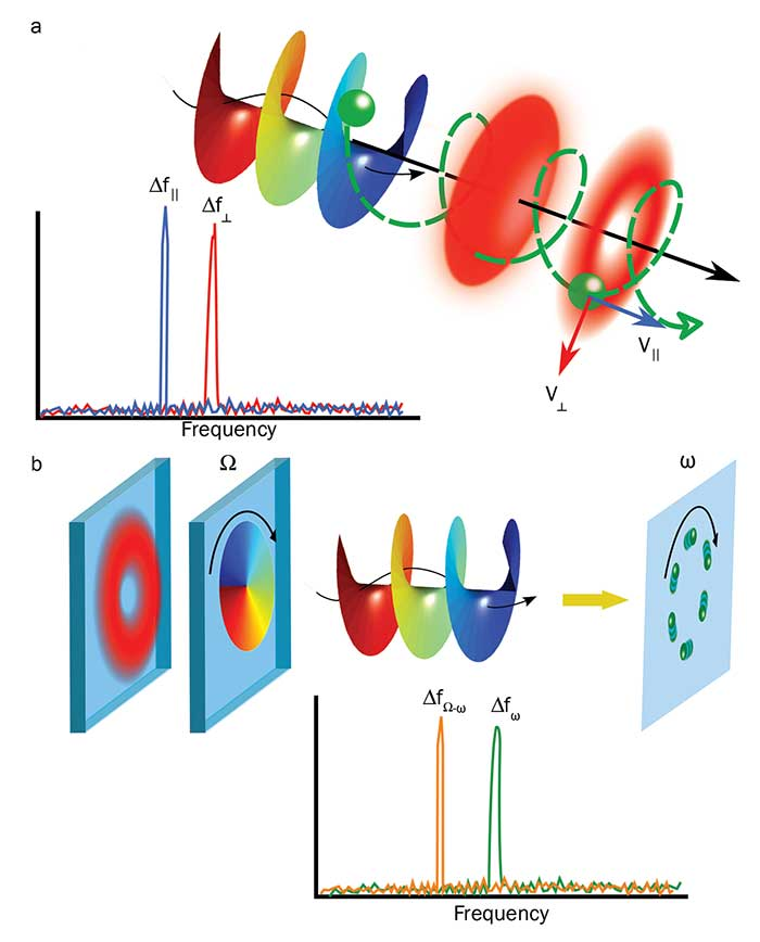 A particle moving in a 3D helical motion can be interrogated simultaneously with a vortex and a Gaussian beam