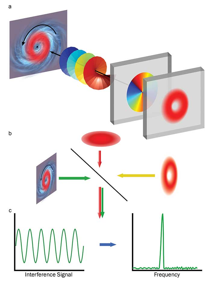 The angular velocity of targets describing a circular motion can be measured directly with a vortex beam