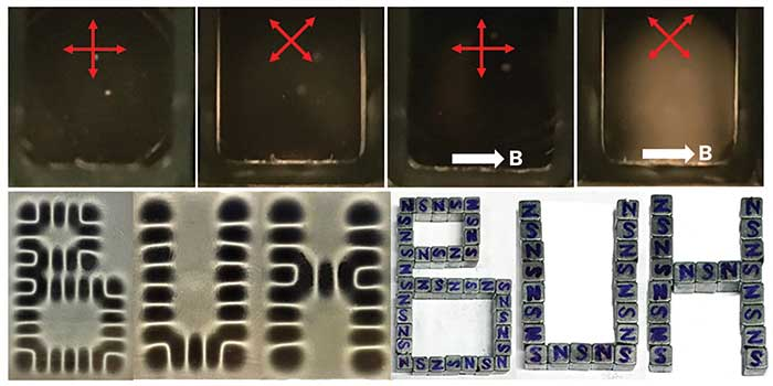 Birefringence and magnetic field sensing/display of aligned graphene flakes.